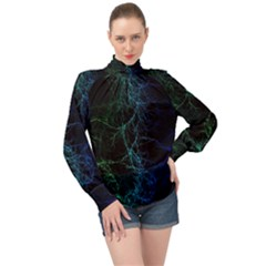 Fractal Lines Wallpaper Backdrop High Neck Long Sleeve Chiffon Top