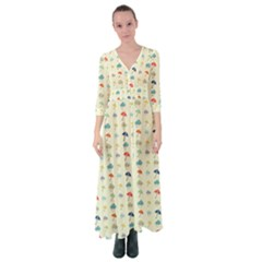 Clouds And Umbrellas Seasons Pattern Button Up Maxi Dress