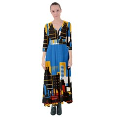 Architecture City House Window Button Up Maxi Dress