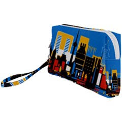 Architecture City House Window Wristlet Pouch Bag (small)