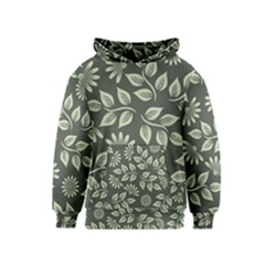 Flowers Pattern Spring Green Kids  Pullover Hoodie by Pakrebo