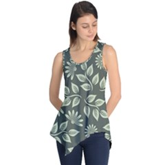 Flowers Pattern Spring Green Sleeveless Tunic by Pakrebo