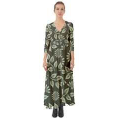 Flowers Pattern Spring Green Button Up Boho Maxi Dress