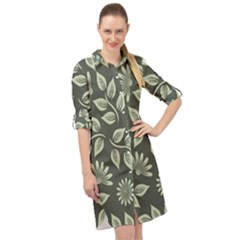 Flowers Pattern Spring Green Long Sleeve Mini Shirt Dress
