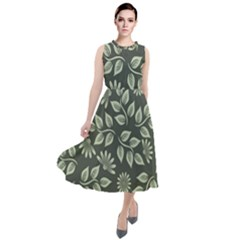Flowers Pattern Spring Green Round Neck Boho Dress