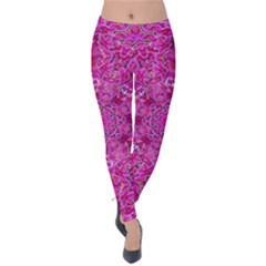 Flowering And Blooming To Bring Happiness Velvet Leggings by pepitasart