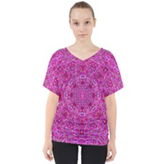 Flowering And Blooming To Bring Happiness V-neck Dolman Drape Top by pepitasart
