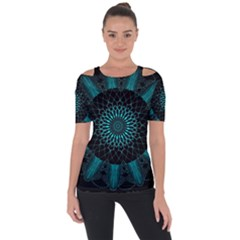 Ornament District Turquoise Shoulder Cut Out Short Sleeve Top