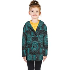 Ornament District Turquoise Kids  Double Breasted Button Coat by Pakrebo