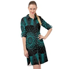 Ornament District Turquoise Long Sleeve Mini Shirt Dress