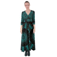 Ornament District Turquoise Button Up Maxi Dress