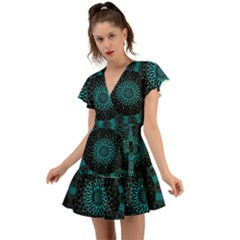 Ornament District Turquoise Flutter Sleeve Wrap Dress
