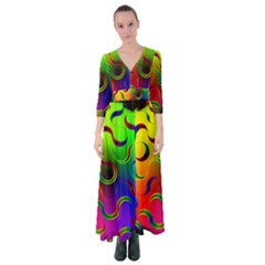 Ball Sphere Digital Art Fractals Button Up Maxi Dress