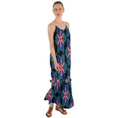 Ornament Digital Color Colorful Cami Maxi Ruffle Chiffon Dress