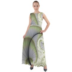 Graphic Fractal Eddy Curlicue Leaf Chiffon Mesh Maxi Dress