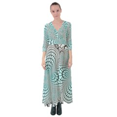 Digital Art Fractal Abstract Button Up Maxi Dress