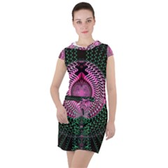 Fractal Traditional Fractal Hypnotic Drawstring Hooded Dress by Pakrebo