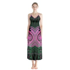 Fractal Traditional Fractal Hypnotic Button Up Chiffon Maxi Dress