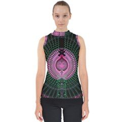 Fractal Traditional Fractal Hypnotic Mock Neck Shell Top