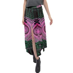 Fractal Traditional Fractal Hypnotic Velour Split Maxi Skirt by Pakrebo
