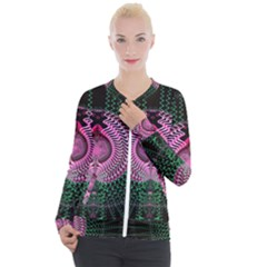 Fractal Traditional Fractal Hypnotic Casual Zip Up Jacket by Pakrebo
