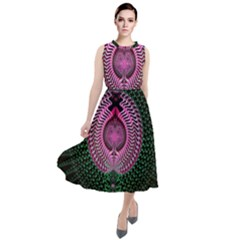 Fractal Traditional Fractal Hypnotic Round Neck Boho Dress