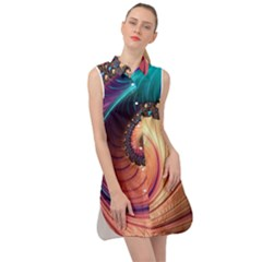 Fractal Multi Colored Fantasia Sleeveless Shirt Dress by Pakrebo