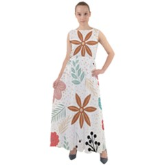 Nature Shape Leaves Flowers Art Chiffon Mesh Maxi Dress