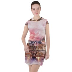 City Buildings Bridge Water River Drawstring Hooded Dress by Pakrebo