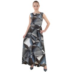 Triangles Polygon Color Silver Uni Chiffon Mesh Maxi Dress