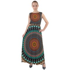 Ornament Circle Picture Colorful Chiffon Mesh Maxi Dress