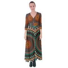 Ornament Circle Picture Colorful Button Up Maxi Dress