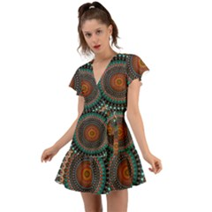 Ornament Circle Picture Colorful Flutter Sleeve Wrap Dress