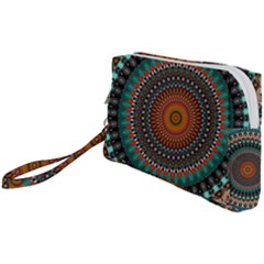 Ornament Circle Picture Colorful Wristlet Pouch Bag (small)