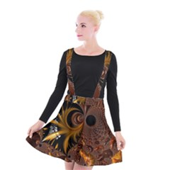 Fractal Brown Golden Intensive Suspender Skater Skirt