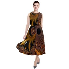 Fractal Brown Golden Intensive Round Neck Boho Dress