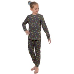 Tribal Leaves House Art Tribal Art Kids  Long Sleeve Set  by Pakrebo