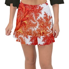 Flora Flowers Background Leaf Fishtail Mini Chiffon Skirt