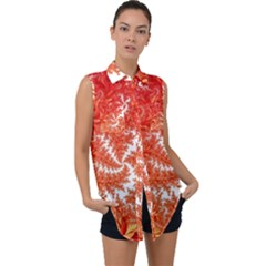 Flora Flowers Background Leaf Sleeveless Chiffon Button Shirt