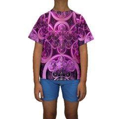 Fractal Math Geometry Visualization Pink Kids  Short Sleeve Swimwear