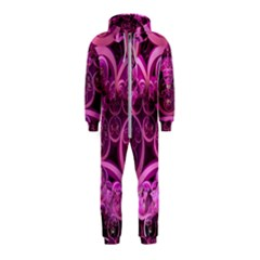 Fractal Math Geometry Visualization Pink Hooded Jumpsuit (kids)