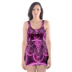 Fractal Math Geometry Visualization Pink Skater Dress Swimsuit