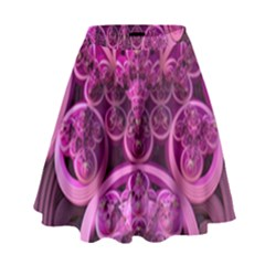 Fractal Math Geometry Visualization Pink High Waist Skirt