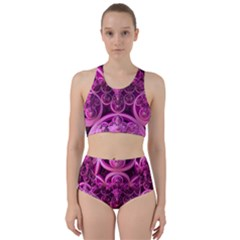 Fractal Math Geometry Visualization Pink Racer Back Bikini Set