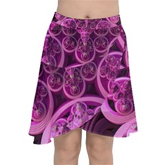 Fractal Math Geometry Visualization Pink Chiffon Wrap Front Skirt