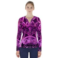 Fractal Math Geometry Visualization Pink V Neck Long Sleeve Top