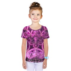 Fractal Math Geometry Visualization Pink Kids  One Piece Tee