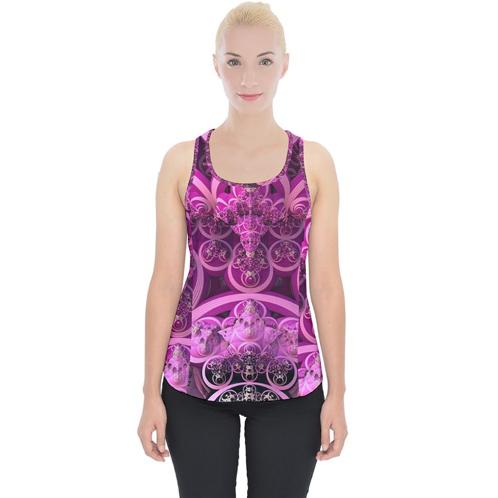 Fractal Math Geometry Visualization Pink Piece Up Tank Top