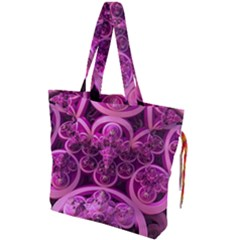 Fractal Math Geometry Visualization Pink Drawstring Tote Bag