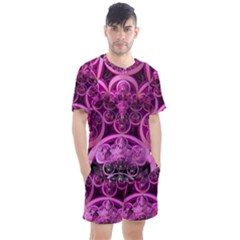 Fractal Math Geometry Visualization Pink Men s Mesh Tee And Shorts Set